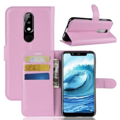 Nokia 5.1 Plus Suojakotelo Vaaleanpunainen Lompakko