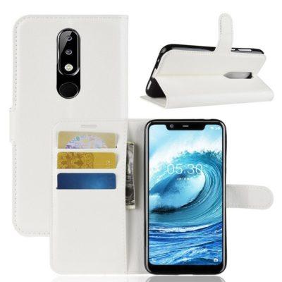 Nokia 5.1 Plus Suojakotelo Valkoinen Lompakko