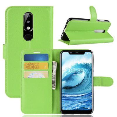 Nokia 5.1 Plus Suojakotelo Vihreä Lompakko
