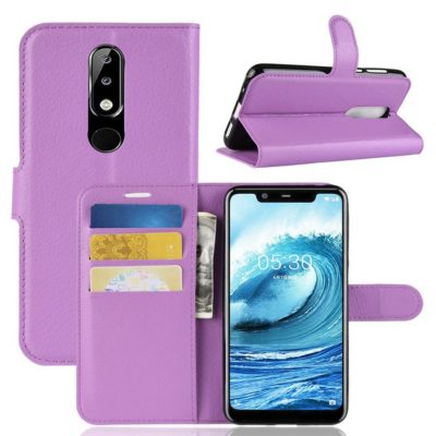 Nokia 5.1 Plus Suojakotelo Violetti Lompakko