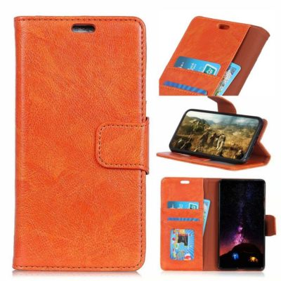 Nokia 8.1 Lompakko Suojakotelo Oranssi Nahka