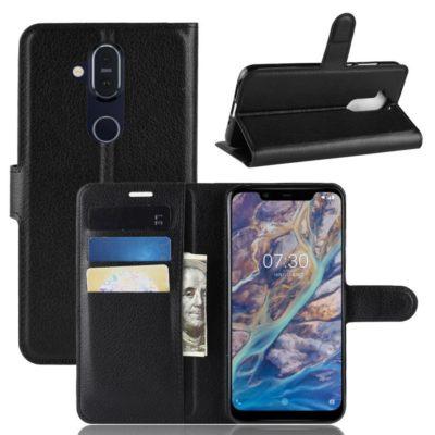 Nokia 8.1 Lompakko Suojakotelo PU-Nahka Musta