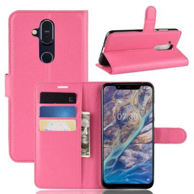 Nokia 8.1 Lompakko Suojakotelo PU-Nahka Pinkki