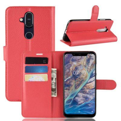 Nokia 8.1 Lompakko Suojakotelo PU-Nahka Punainen