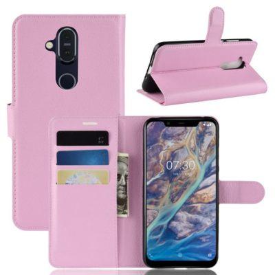 Nokia 8.1 Lompakko Suojakotelo PU-Nahka Vaaleanpunainen