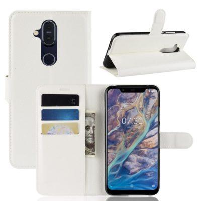 Nokia 8.1 Lompakko Suojakotelo PU-Nahka Valkoinen