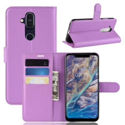 Nokia 8.1 Lompakko Suojakotelo PU-Nahka Violetti