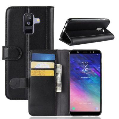 Samsung Galaxy A6+ (2018) Suojakotelo Musta Nahka