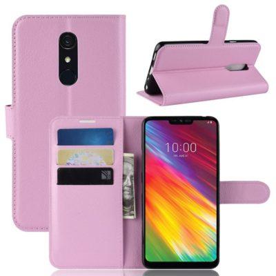 LG G7 Fit Suojakotelo PU-Nahka Vaaleanpunainen