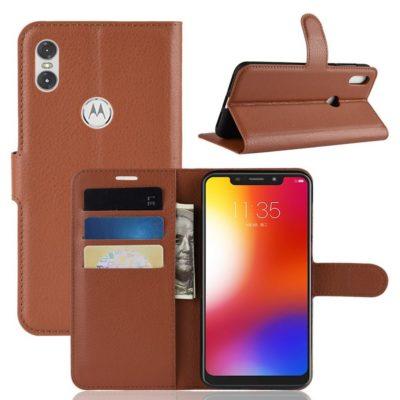 Motorola One Lompakkokotelo PU-Nahka Ruskea
