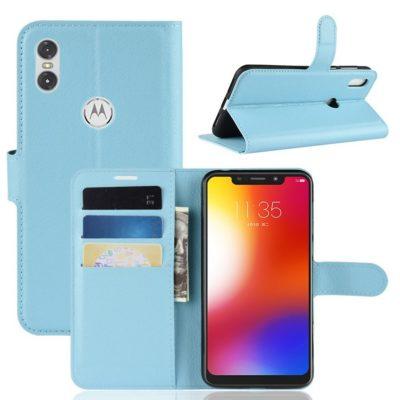 Motorola One Lompakkokotelo PU-Nahka Sininen