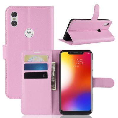 Motorola One Lompakkokotelo PU-Nahka Vaaleanpunainen