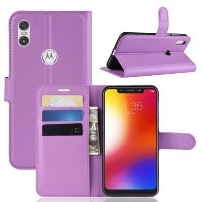 Motorola One Lompakkokotelo PU-Nahka Violetti