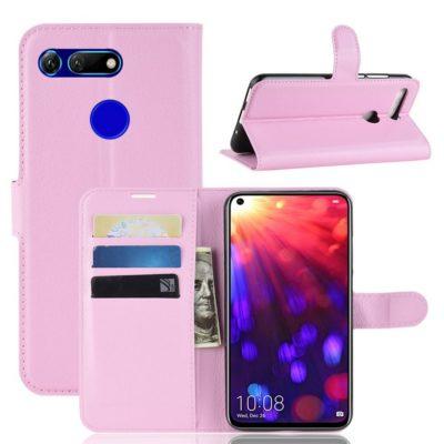 Huawei Honor View 20 Kotelo PU-Nahka Vaaleanpunainen