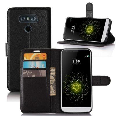 LG G6 H870 Lompakko Suojakotelo Musta