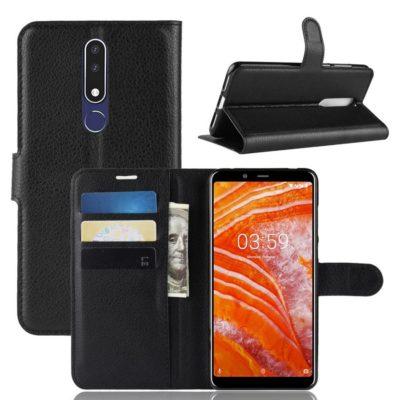 Nokia 3.1 Plus Suojakotelo PU-Nahka Musta