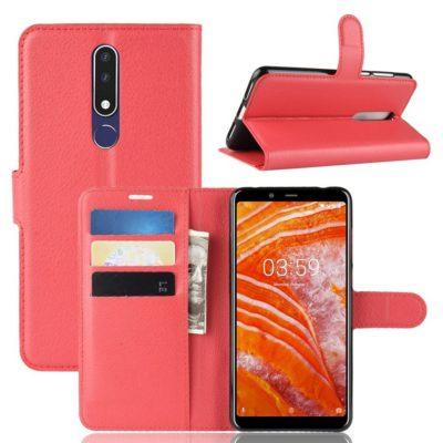 Nokia 3.1 Plus Suojakotelo PU-Nahka Punainen
