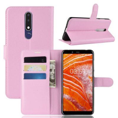 Nokia 3.1 Plus Suojakotelo PU-Nahka Vaaleanpunainen