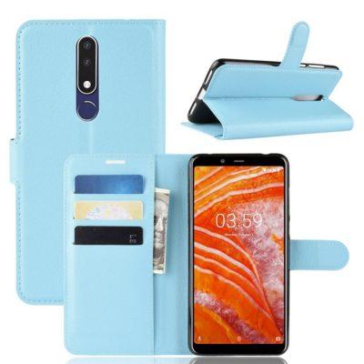 Nokia 3.1 Plus Suojakotelo PU-Nahka Vaaleansininen