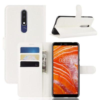 Nokia 3.1 Plus Suojakotelo PU-Nahka Valkoinen