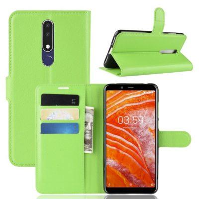 Nokia 3.1 Plus Suojakotelo PU-Nahka Vihreä