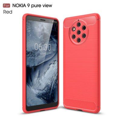 Nokia 9 PureView Suojakuori Hiilikuitu Punainen
