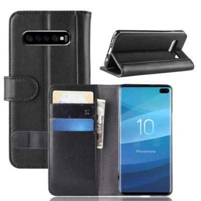 Samsung Galaxy S10+ Suojakotelo Musta Nahka