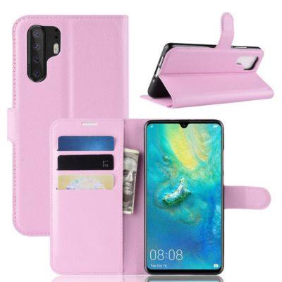 Huawei P30 Pro Suojakotelo PU-Nahka Vaaleanpunainen