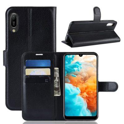 Huawei Y6 (2019) Suojakotelo PU-Nahka Musta