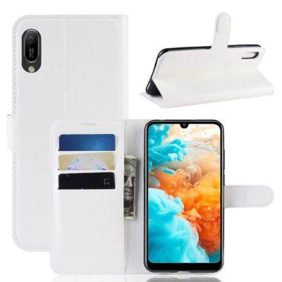 Huawei Y6 (2019) Suojakotelo PU-Nahka Valkoinen