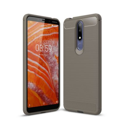Nokia 3.1 Plus Suojakuori Hiilikuitu Harmaa