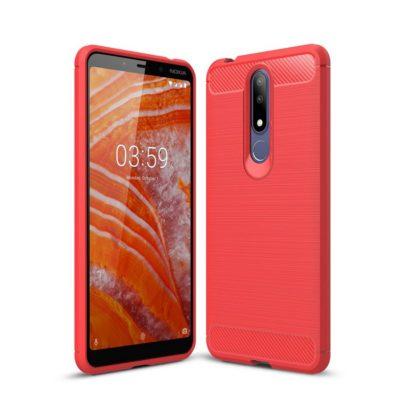 Nokia 3.1 Plus Suojakuori Hiilikuitu Punainen