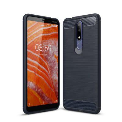 Nokia 3.1 Plus Suojakuori Hiilikuitu Tummansininen