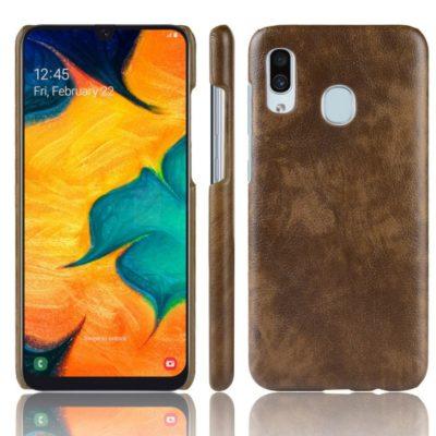 Samsung Galaxy A40 Suojakuori PU-Nahka Ruskea