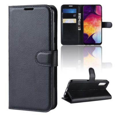 Samsung Galaxy A50 Kotelo PU-Nahka Musta