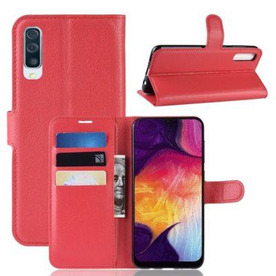 Samsung Galaxy A50 Kotelo PU-Nahka Punainen