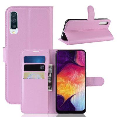 Samsung Galaxy A50 Kotelo PU-Nahka Vaaleanpunainen