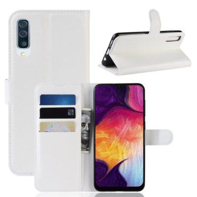 Samsung Galaxy A50 Kotelo PU-Nahka Valkoinen