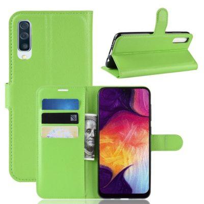 Samsung Galaxy A50 Kotelo PU-Nahka Vihreä
