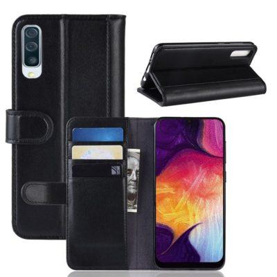 Samsung Galaxy A50 Nahkakotelo Musta