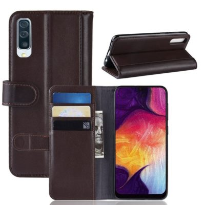 Samsung Galaxy A50 Nahkakotelo Tummanruskea