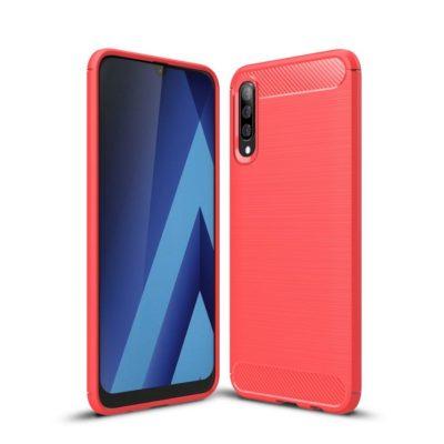 Samsung Galaxy A50 Suojakuori Hiilikuitu Punainen