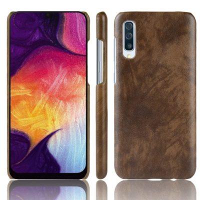 Samsung Galaxy A70 Suojakuori PU-Nahka Tummanruskea