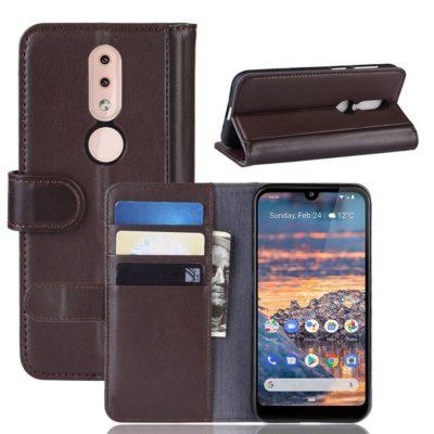 Nokia 4.2 Lompakkokotelo Tummanruskea Nahka