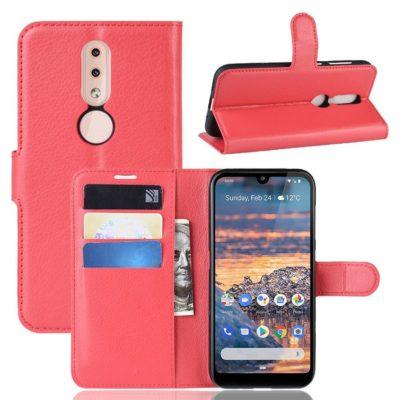 Nokia 4.2 Suojakotelo PU-Nahka Punainen