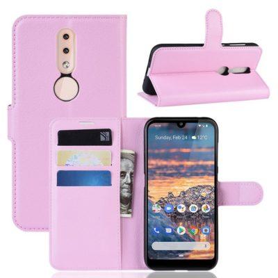 Nokia 4.2 Suojakotelo PU-Nahka Vaaleanpunainen