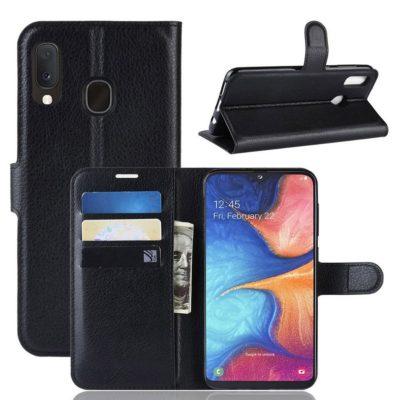 Samsung Galaxy A20e Kotelo PU-Nahka Musta