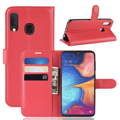 Samsung Galaxy A20e Kotelo PU-Nahka Punainen