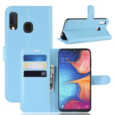 Samsung Galaxy A20e Kotelo PU-Nahka Vaaleansininen