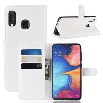 Samsung Galaxy A20e Kotelo PU-Nahka Valkoinen